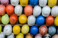 Different coloured hard hats